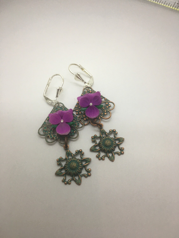 Purple pansy dangle patina earrings