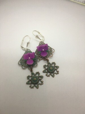 Purple pansy dangle patina earrings