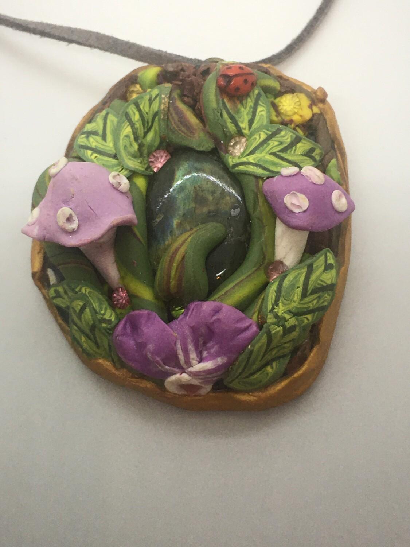 Purple mushroom Labradorite  pendant