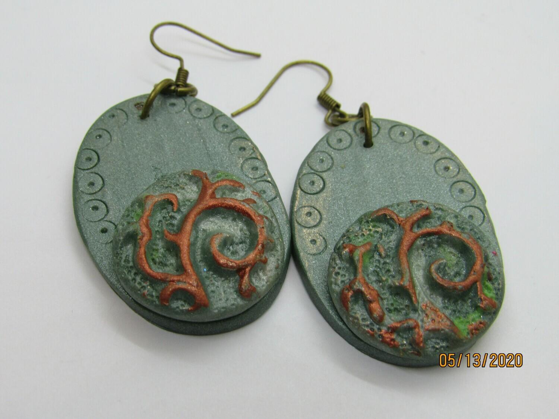 Sea Glass Green/copper Earrings