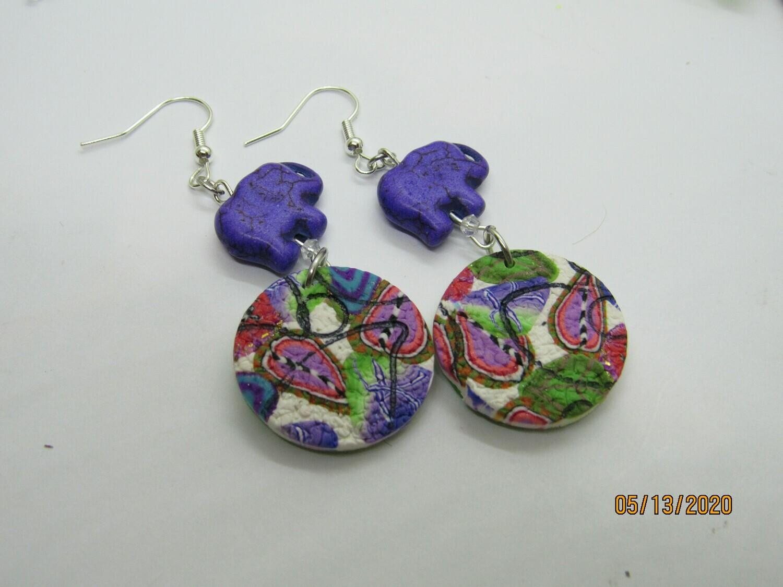 Elephant abstract Dangle earrings