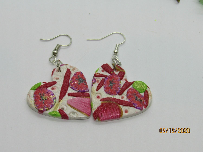 Red/White heart earrings