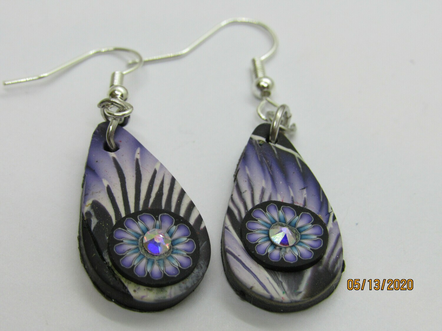 Purple Tear Drop Earrings