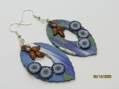 Copper/Blue Leaf earrings