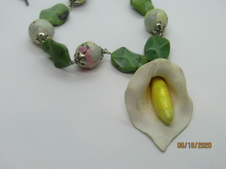 Calla Lily Gemstone Necklace