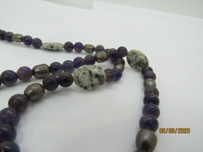 Purple pearl and amethyst Long Necklace