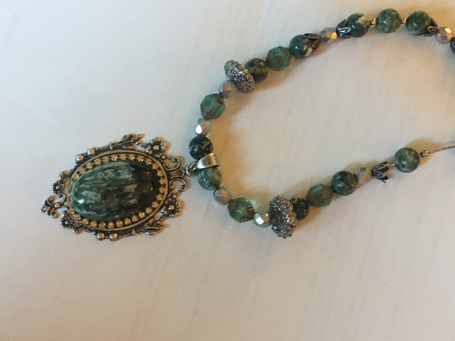 Seraphinite Gemstone Necklace And Tree-agate Green Necklace