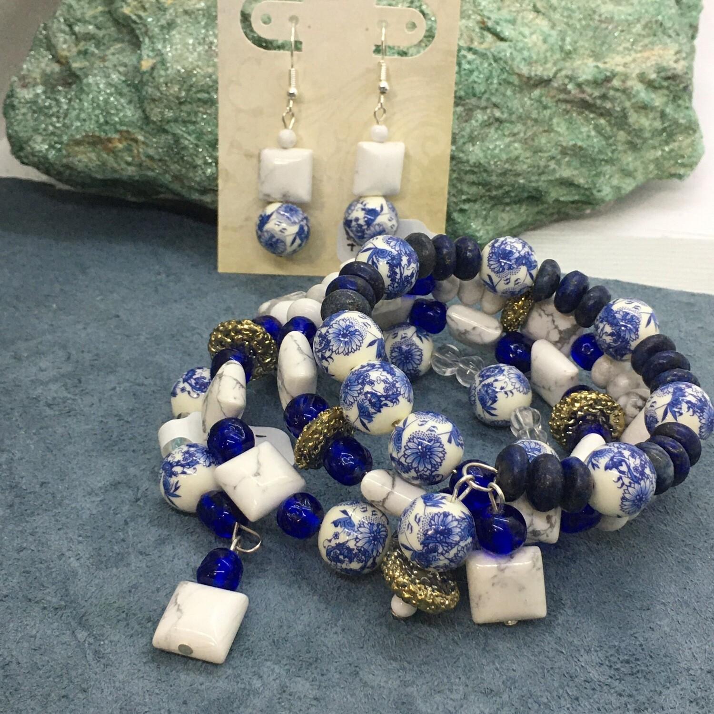 Howlite Gemstone Memory Wire Bracelet Set