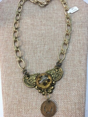 Chunky Brass Vintage  Necklace
