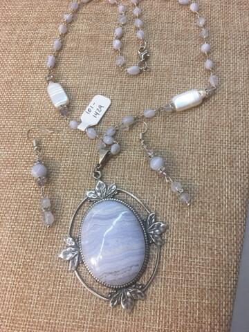 Blue Lace Agate Necklace Set