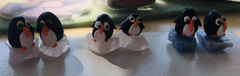 Penguin Earrings On Rose Quartz
