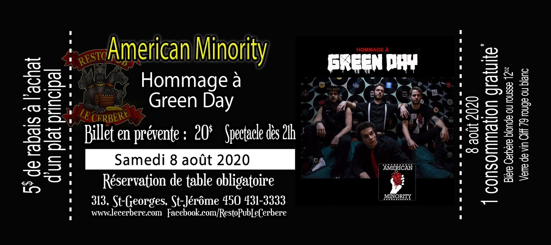 Prévente Hommage à Green Day - American Minority - 8 août 2020