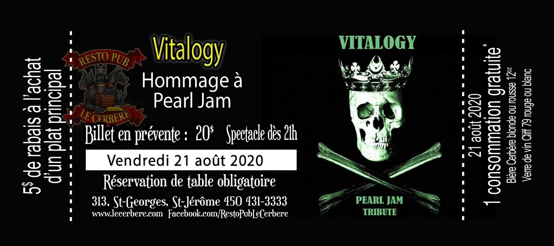Prévente Hommage à Pearl Jam - Vitalogy - 21 août 2020