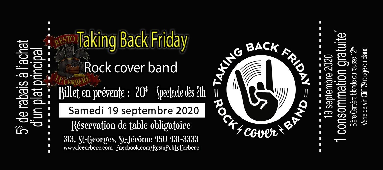Prévente Taking Back Friday - Rock cover band - 19 septembre 2020