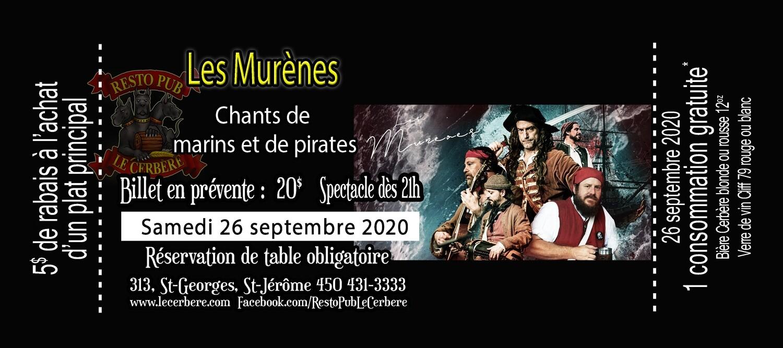 Prévente Les Murènes - Chants de marins et de pirates - 26 septembre 2020 -- VISIBILITÉ RESTREINTE