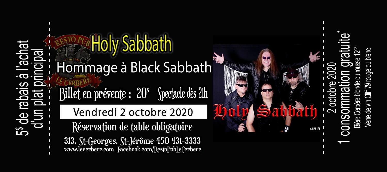 Prévente Hommage à Black Sabbath - Holy Sabbath - 2 octobre 2020
