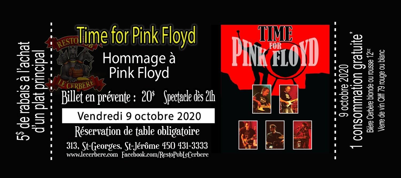 Prévente Hommage à Pink Floyd - Time for Pink Floyd - 9 octobre 2020