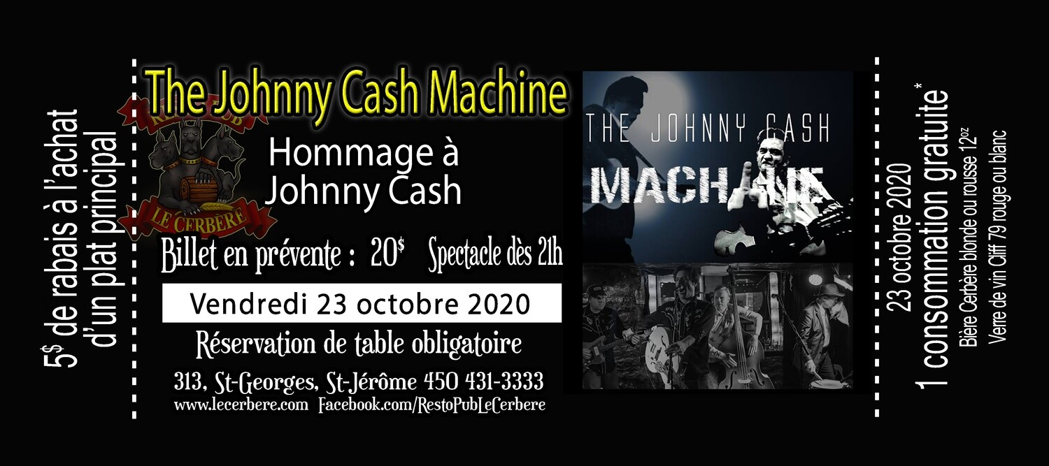 Prévente Hommage à Johnny Cash - The Johnny Cash Machine - 23 octobre 2020
