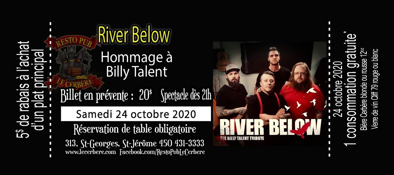Prévente Hommage à Billy Talent - River Below - 24 octobre 2020