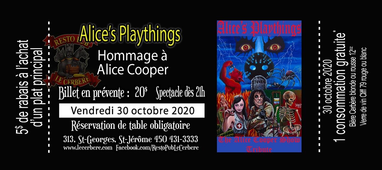 Prévente Hommage à Alice Cooper - Alice's Playthings
