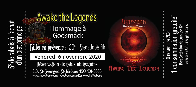 Prévente Hommage à Godsmack - Awake the Legends - 6 novembre 2020