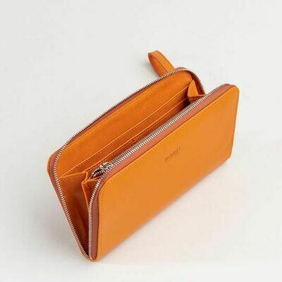 Grand portefeuille à fermeture éclair / Cuir Orange