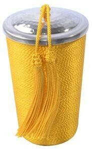 Bougie en verre Baya & soie végétale jaune
