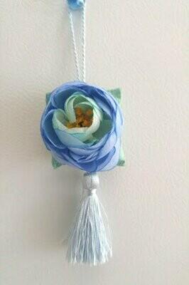 Accroche-cœur en soie turquoise