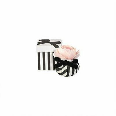Fleur en taffetas rayée noir & blanc