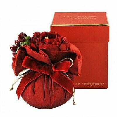 Fleur en soie rouge baroque (moyenne)