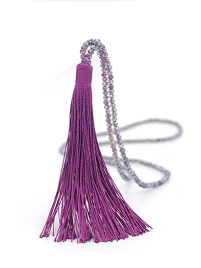 Sautoir mauve / perles cristal