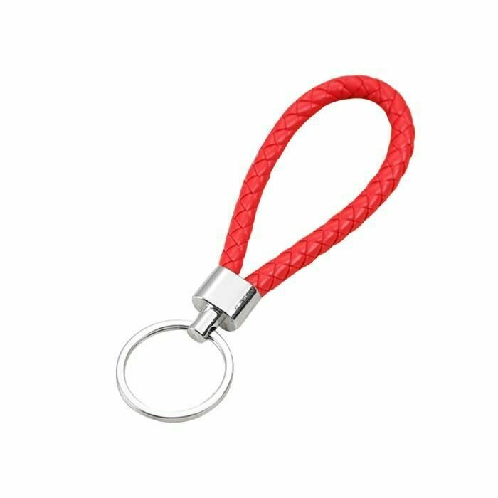 Porte-clefs en cuir tressé - Rouge