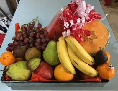 Seasonal Fruit Gift with 2 foil Occasion Balloons
