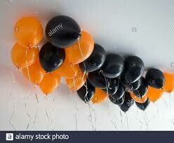 Ceiling Balloons/Black and Orange x30