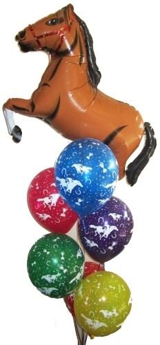 Melbourne Cup Horse Shape and 6 Printed Latex Balloons