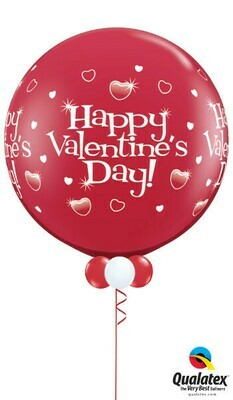 3ft Sized St Valentines Printed  Balloon With Tassels