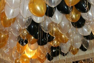 Gold,Black and Silver Ceiling Balloons x 30