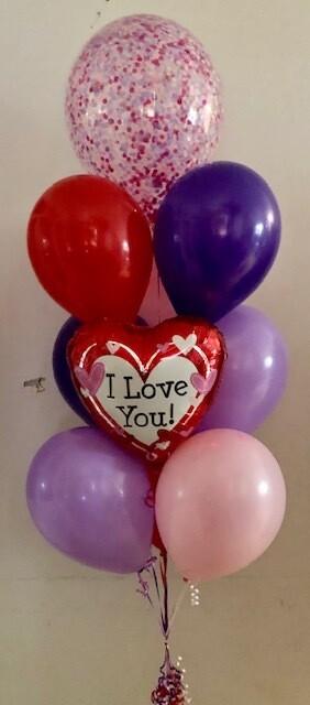 St Valentines Confetti Balloon Bouquet