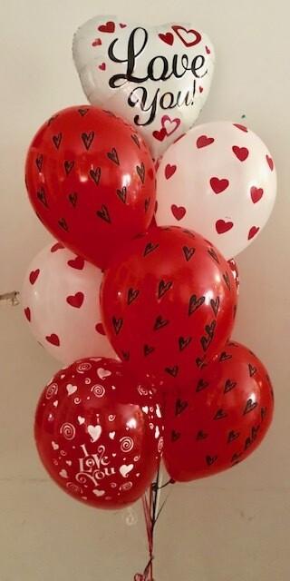 St Valentines Message Balloon Bouquet