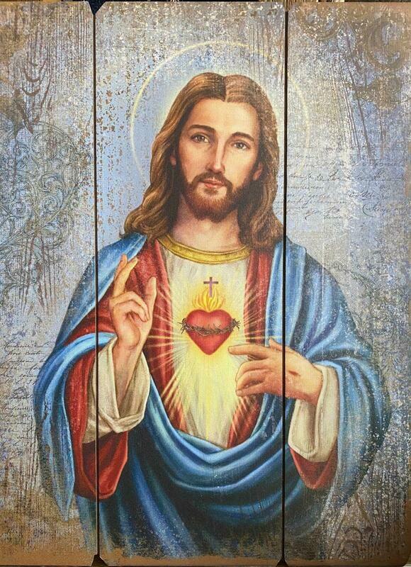Sacred Heart Of Jesus Wood Plaque