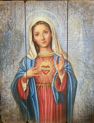 Immaculate Heart of Mary Wooden Plaque