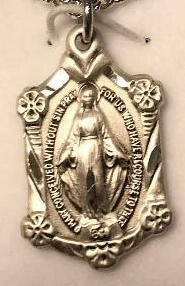 MIraculous Medal Sterling with Flowers