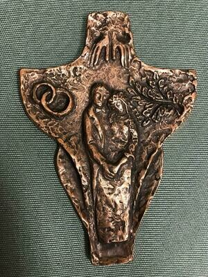 "Solid Bronze Wedding Cross ""In The Presence Of God"""