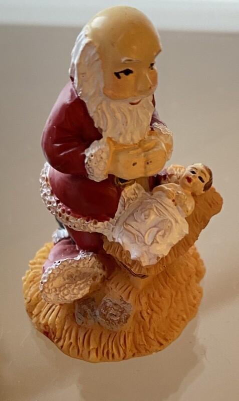 Kneeling Santa In Keep Christ In Christmas Green Velvet Bag
