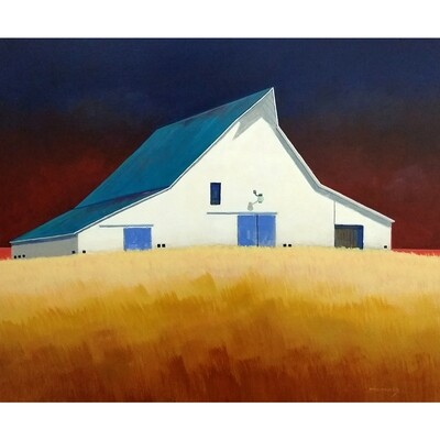 ​White Barn with Blue Doors