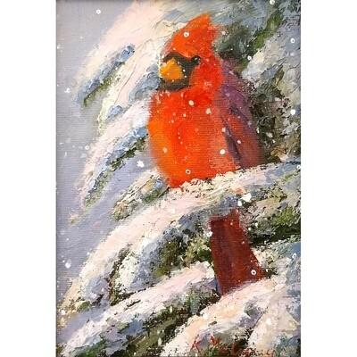 Cardinal in Snowfall