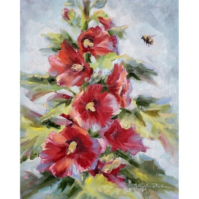 Bumblebee and Hollyhocks by Tammie Dickerson