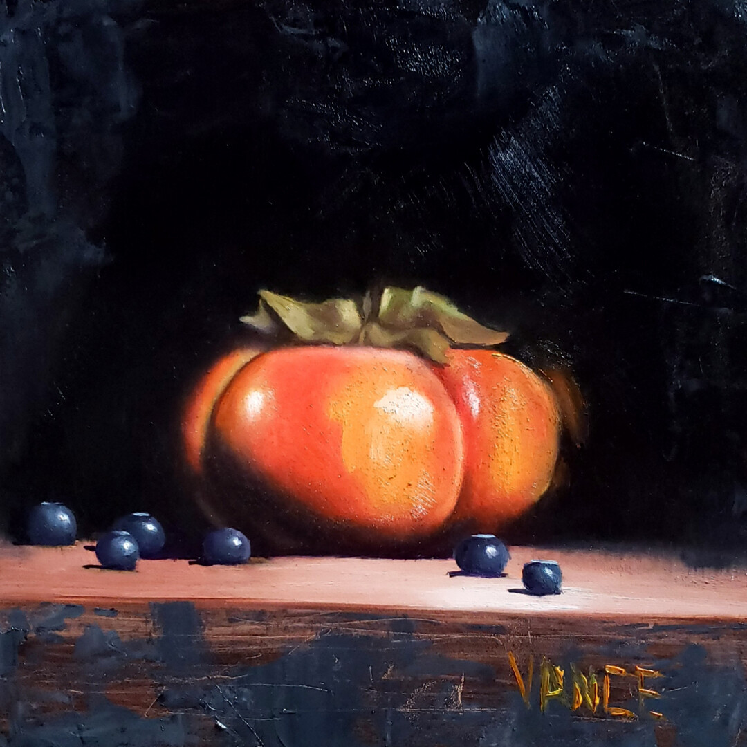 Persimmon and Blueberries Study by Melissa Vance