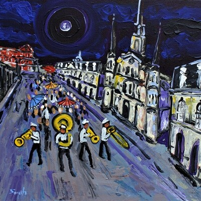 Second Line in the French Quarter Under Misty Moon by Stuart South