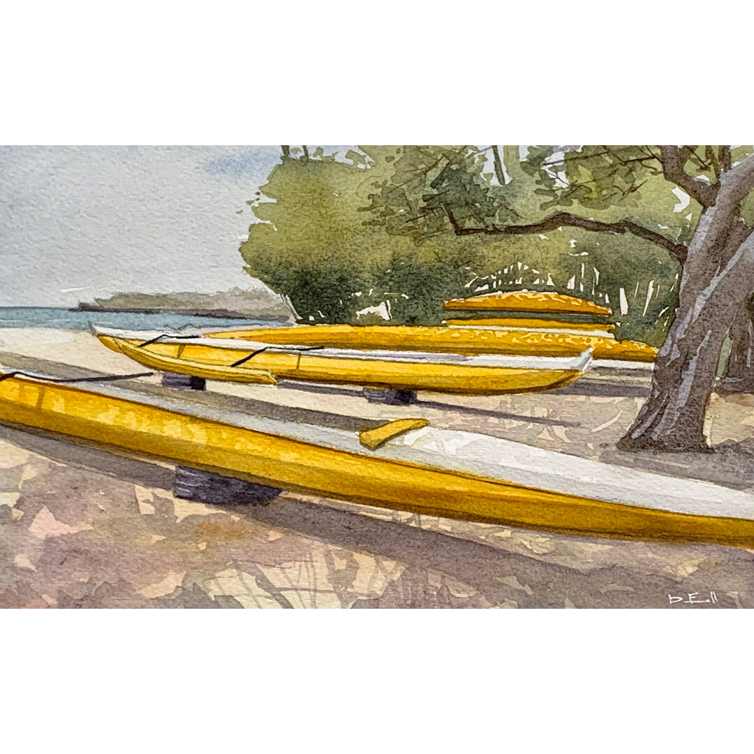 Yellow Outrigger Canoes - Lanai by Dan Finnell